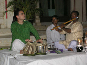 Simon Playing the Tabla @ the Shiv Niwas Palace, Udaipur India