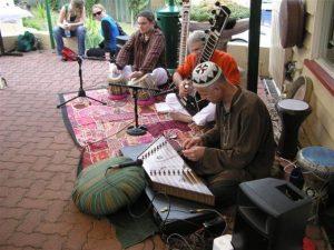 "Me playing the Tabla with ""Krishnapada"" at the Kathmandu Newa Chhe'n, Paddington, Australia"